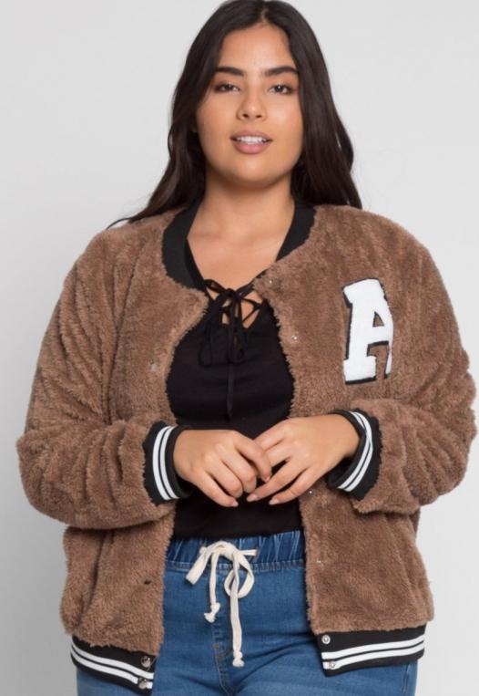 Plus Size Letterman Teddy Varsity Jacket in Brown alternate img #2