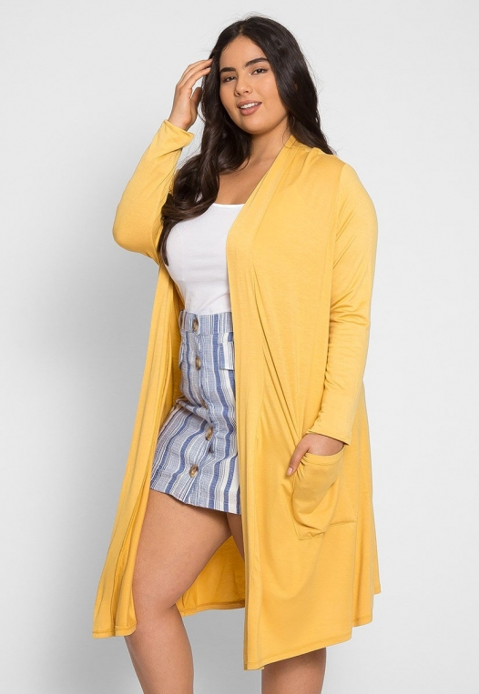 Plus Size Catalena Longline Cardigan in Yellow alternate img #4