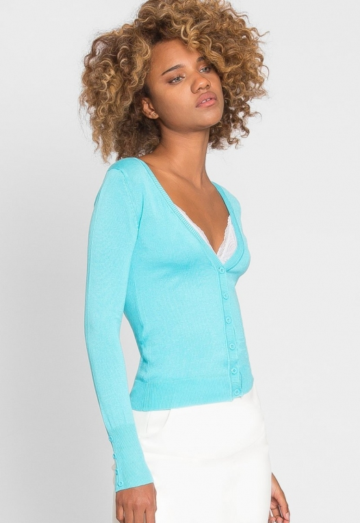 Water Lily V-Neck Cardigan in Aqua alternate img #4