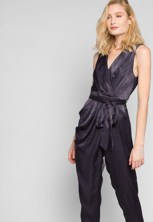 Young & Beautiful Wrap Belted Jumpsuit in Black alternate img #5