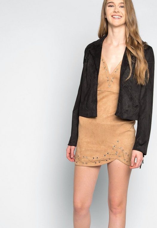 West Coast Fringe Faux Suede Jacket alternate img #5