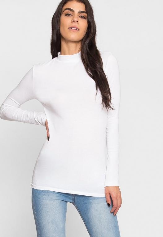 Sue Mock Neck Long Sleeve Top in White alternate img #5