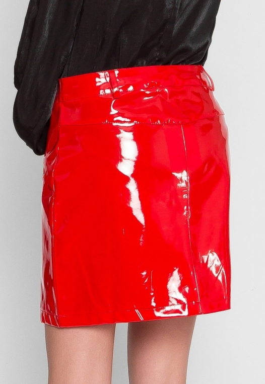 Pleather Zipper Detail Skirt alternate img #4
