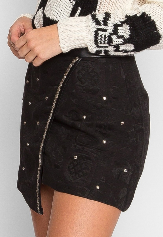Star Studded Textured Mini Skirt alternate img #4