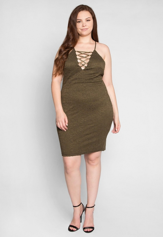 Plus Size Be The One Bodycon Dress in Olive alternate img #4