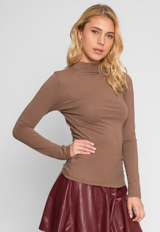 Sue Mock Neck Long Sleeve Top in Mocha alternate img #3