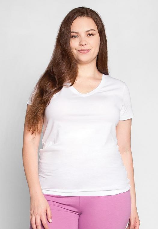 Plus Size The Basics V-Neck Tee in White alternate img #3