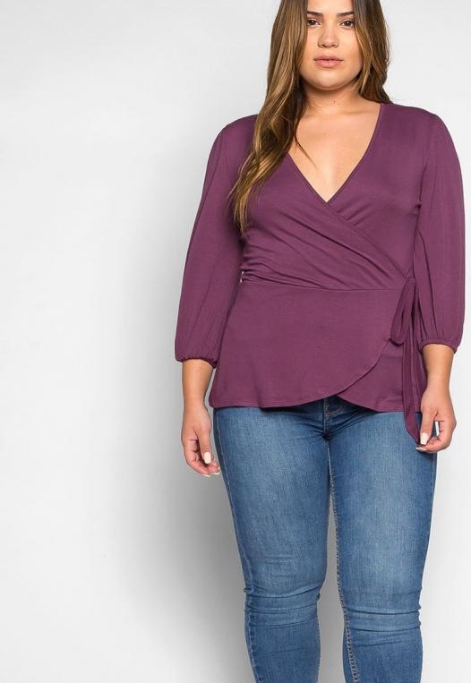 Plus Size Peony Self Tie Wrap Blouse in Purple alternate img #5