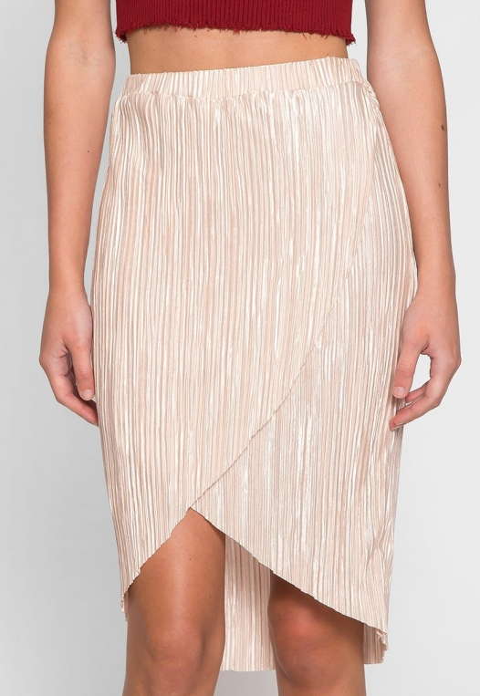 Metallic Pleated Tulip Skirt in Beige alternate img #4