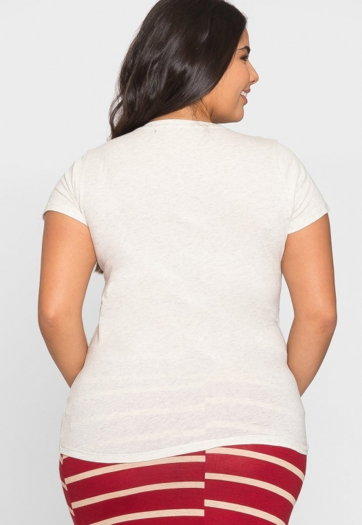 Plus Size Ivy V-Neck Tee in Oatmeal alternate img #3