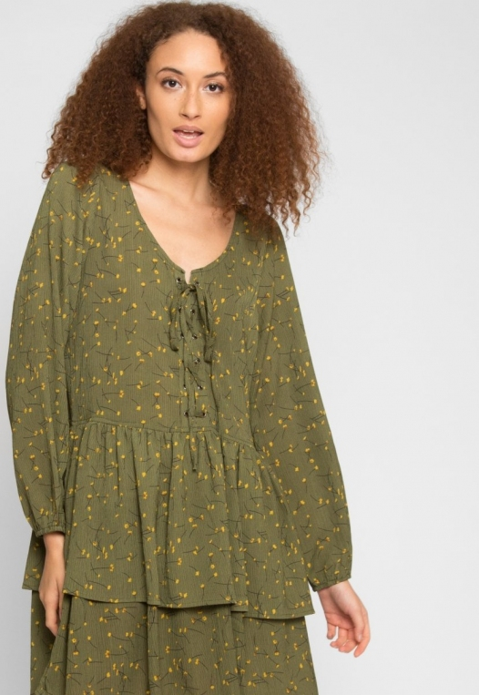 Pine Tiered Floral Dress in Olive alternate img #5