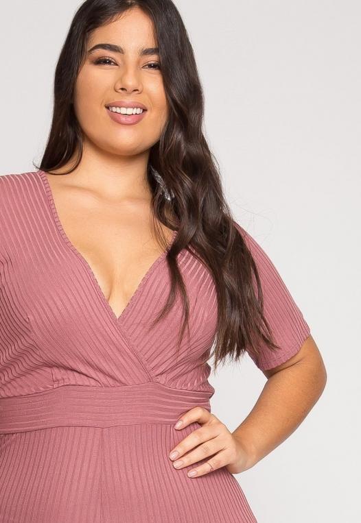 Plus Size Knit Jumpsuit in Pink alternate img #4