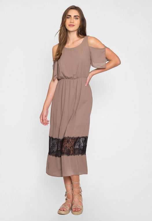 Pathway Cold Shoulder Maxi Dress in Mocha alternate img #4