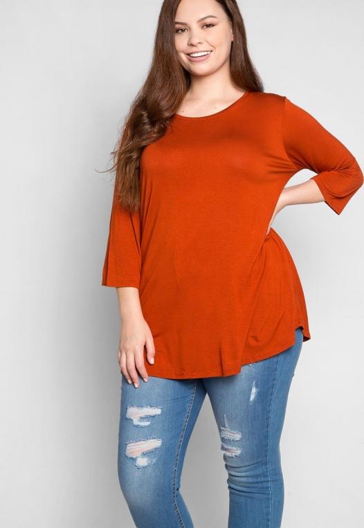 Plus Size Dolphin Hem Top in Orange alternate img #5