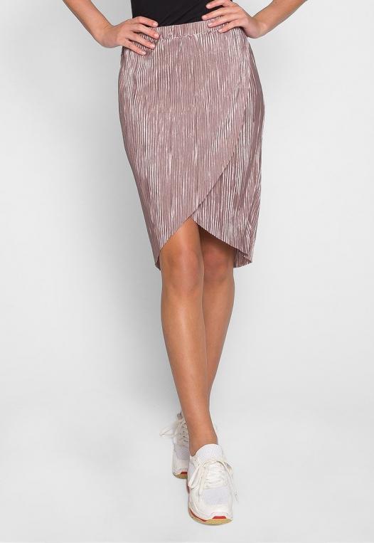 Metallic Pleated Tulip Skirt in Lavender alternate img #3