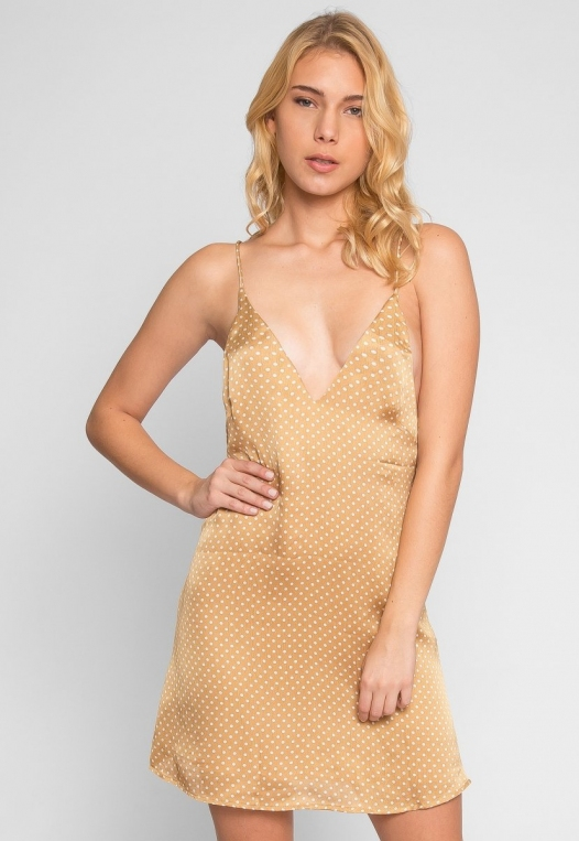 Nature Polka Dot Slip Dress in Gold alternate img #1