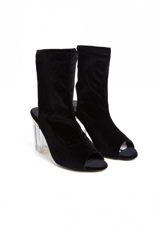 Leandra Velvet Cut Out Sock Heels in Black alternate img #4