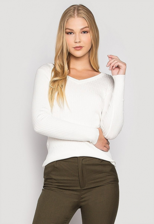Milk & Cookies Textured Knit V-Neck Fitted Cardigan alternate img #1