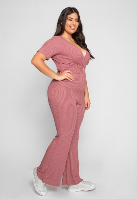 Plus Size Knit Jumpsuit in Pink alternate img #2