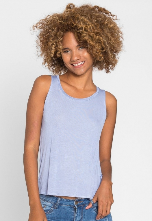 Soft Knit Tank Top in Blue alternate img #4