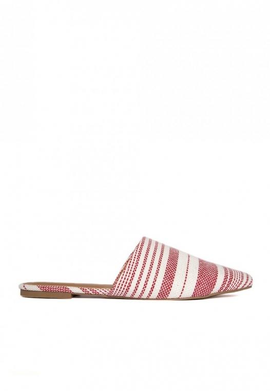 Stripe Lounge Mule Flats in Red alternate img #1