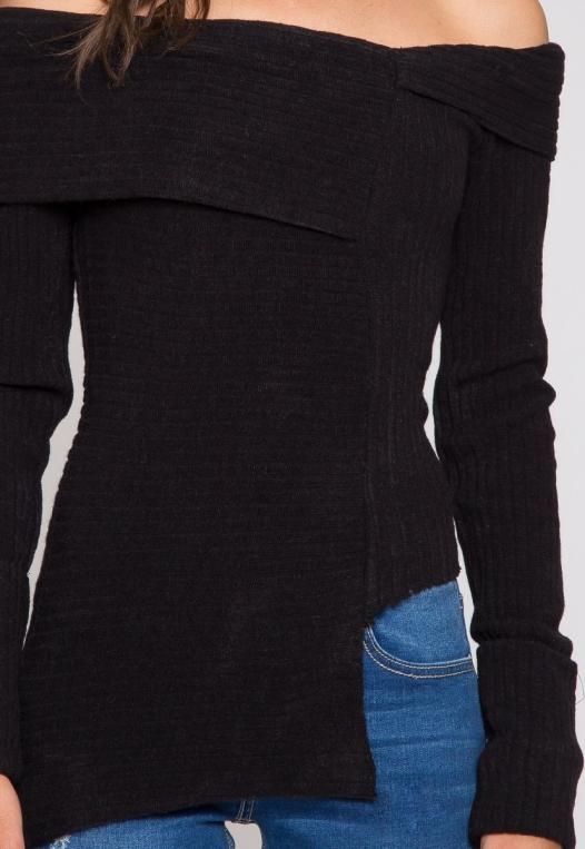 Ribbed asymmetric sweater in black alternate img #6