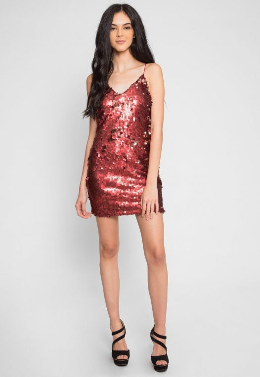 Red Hot Sequin Party Dress alternate img #5