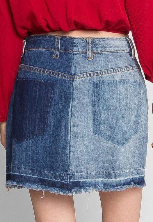 Whip It Distressed Denim Skirt alternate img #5