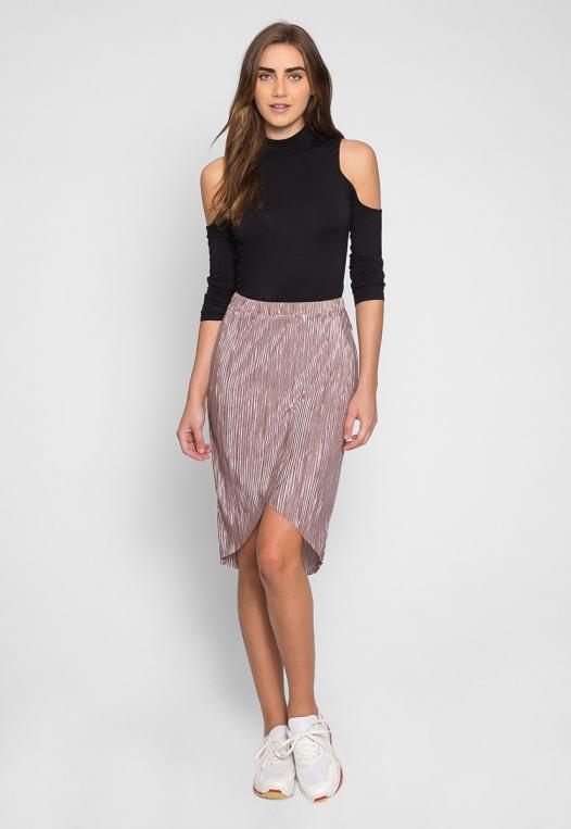 Metallic Pleated Tulip Skirt in Lavender alternate img #5