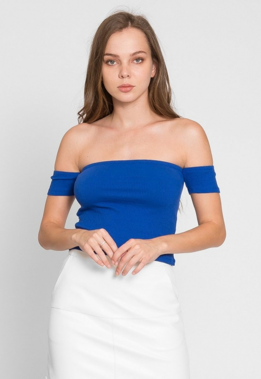 One More Time Off Shoulder Top in Blue alternate img #3
