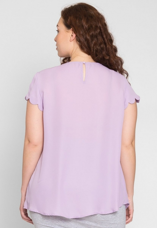 Plus Size Clouds Scallop Edge Top in Lavender alternate img #2