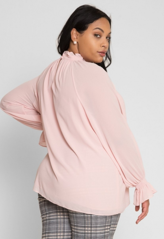 Plus Size Girly Chiffon Party Top in Blush alternate img #4