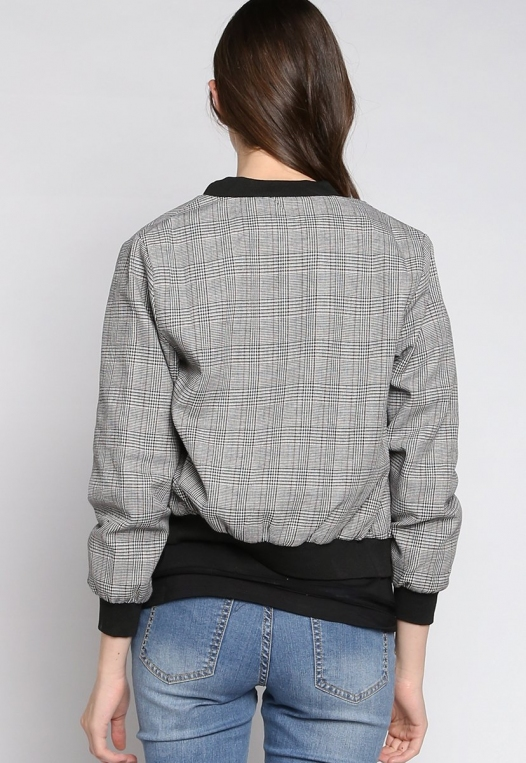 Keep It Secret Plaid Bomber Jacket alternate img #3
