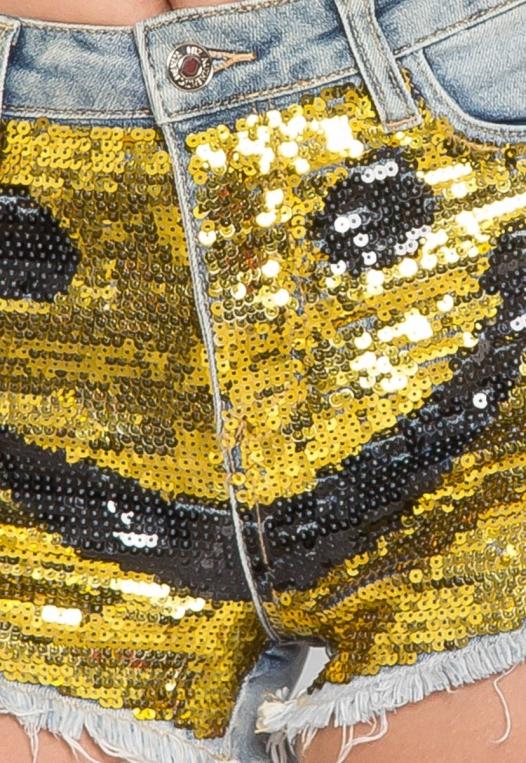 Bright Smile Sequin Denim Shorts alternate img #6