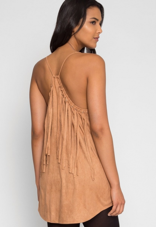 Symphony Faux Suede Dress in Taupe alternate img #3