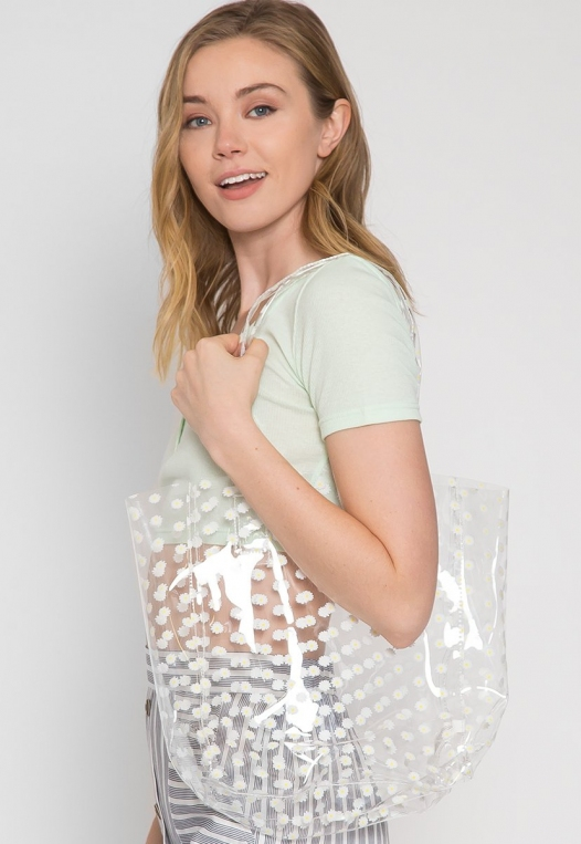 Printed Transparent Tote in White alternate img #2