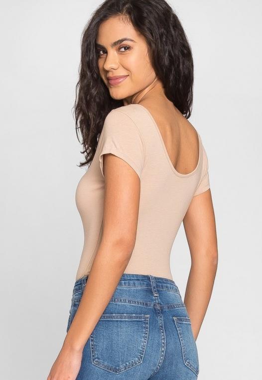 Juliet Short Sleeve Bodysuit in Khaki alternate img #3