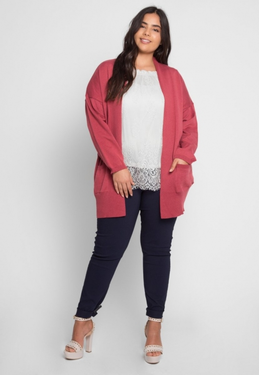 Plus Size Fireplace Cardigan in Burgundy alternate img #4