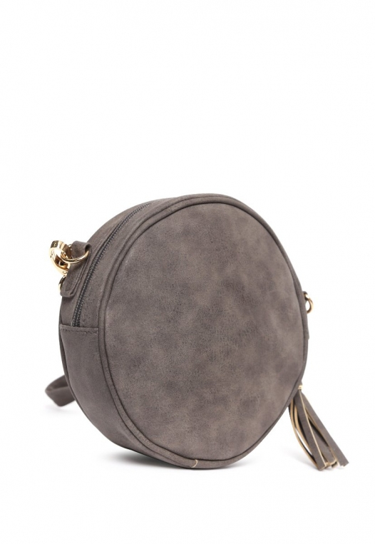 Floral Perforated Canteen Circle Bag in Gray alternate img #4