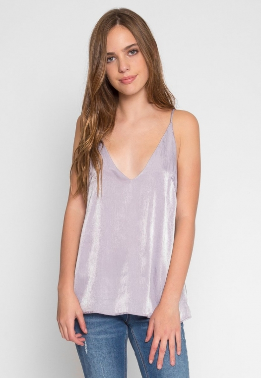 Bright Eyes Satin Cami Top in Mauve alternate img #2