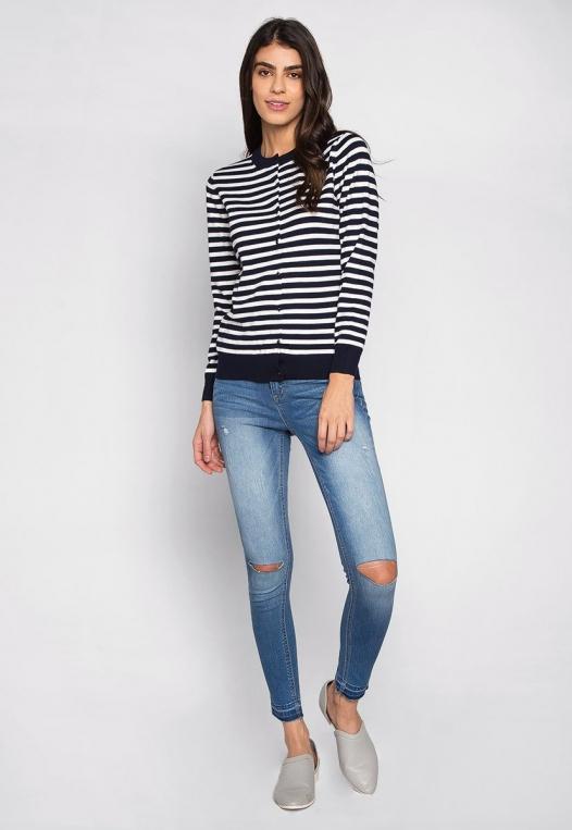 Black & White Thin Stripe Button Up Cardigan alternate img #4