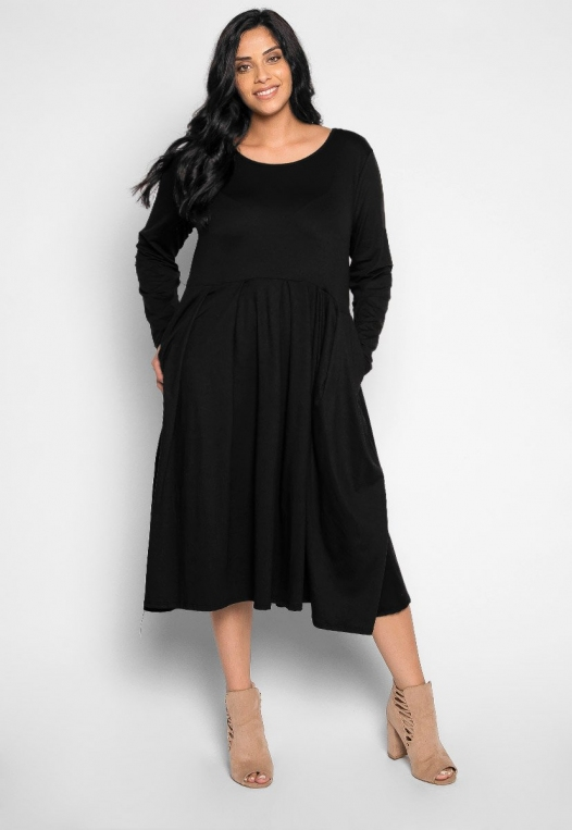 Plus Size Cherry Bomb Fit & Flare Dress in Black alternate img #1