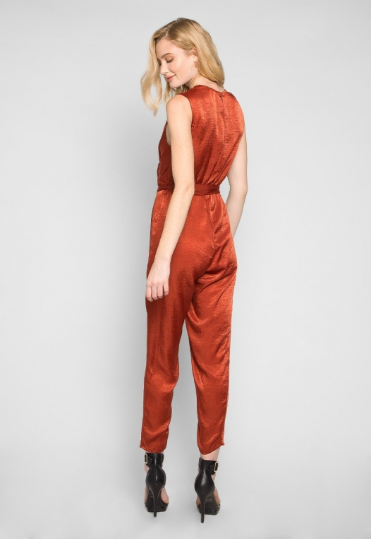 Young & Beautiful Wrap Belted Jumpsuit in Rust alternate img #2