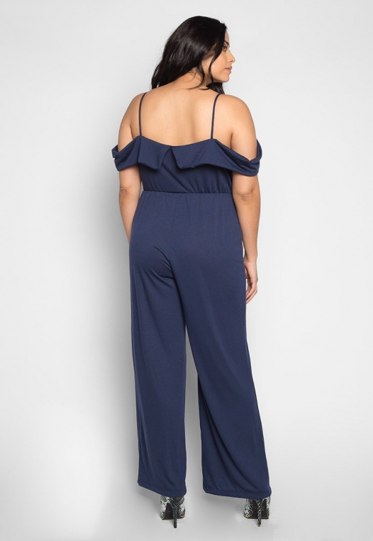Plus Size Sunday Cold Shoulder Jumpsuit in Navy alternate img #2