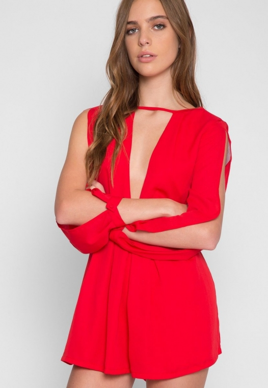 Long Sleeve Cut Out Romper in Red alternate img #5