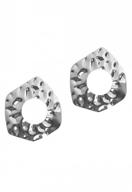 Wavy Textured Earrings in Silver alternate img #2