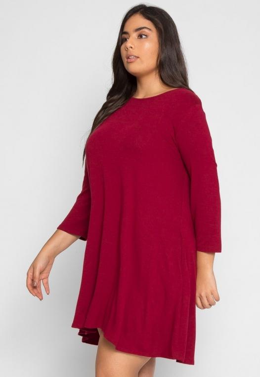 Plus Size Catwalk Tunic Knit Dress in Burgundy alternate img #3