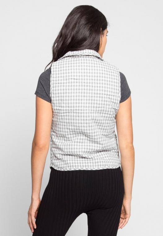 Hill Front Plaid Quilted Vest in Gray alternate img #6
