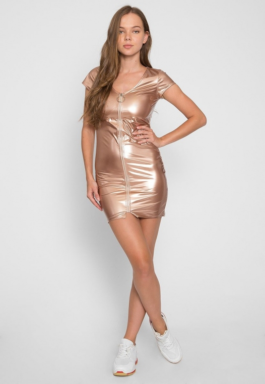 Metallic Zipper Front Dress alternate img #4