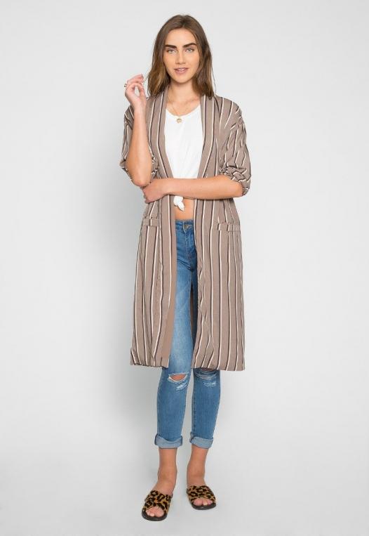 Rumors Longline Stripe Kimono in Gray alternate img #4